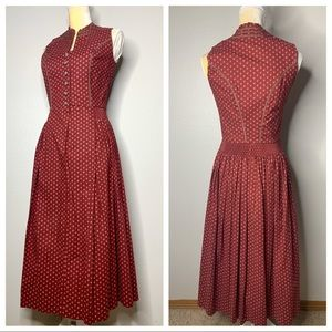 Alphorn Baumwolle Vintage Red Floral Dress 38